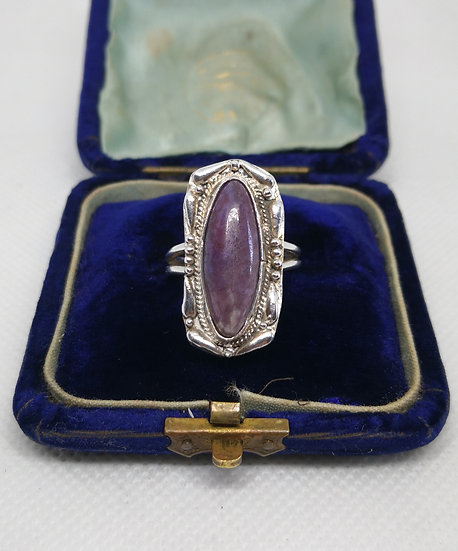 Unusual Silver and Charoite Large Ring