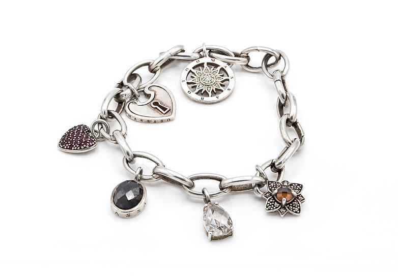 Unusual Thomas Sabo Sterling Silver Charm Bracelet with