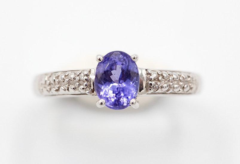 9ct White Gold Tanzanite and Diamond Ring