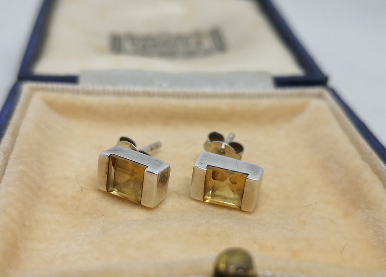 Sterling Silver and Citrine Studs
