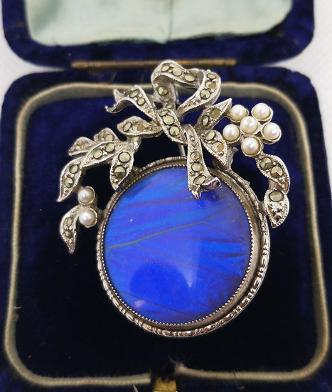 Beautiful Vintage Butterfly Wing and Marcasite Brooch