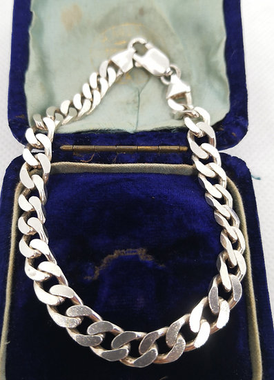 Solid Silver Curb Chain Bracelet