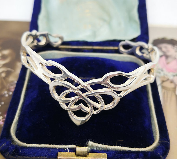 Sterling Silver Ornate Torc Bangle
