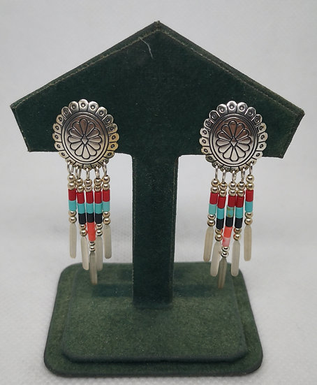 Sterling Silver Mexican Drop Earrings with Coral Turquoise and Onyx Q. T