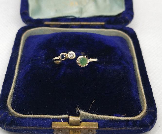 10k Gold Sapphire Diamond And Emerald Ring