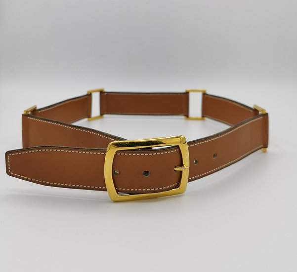 Genuine Hermes Leather Brass Loop Tan Belt