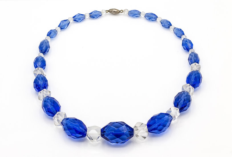Stunning Art Deco Blue Crystal Necklace