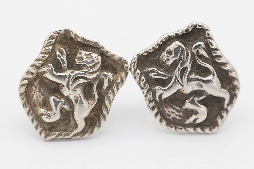 Sterling Silver Shield Studs with Lions
