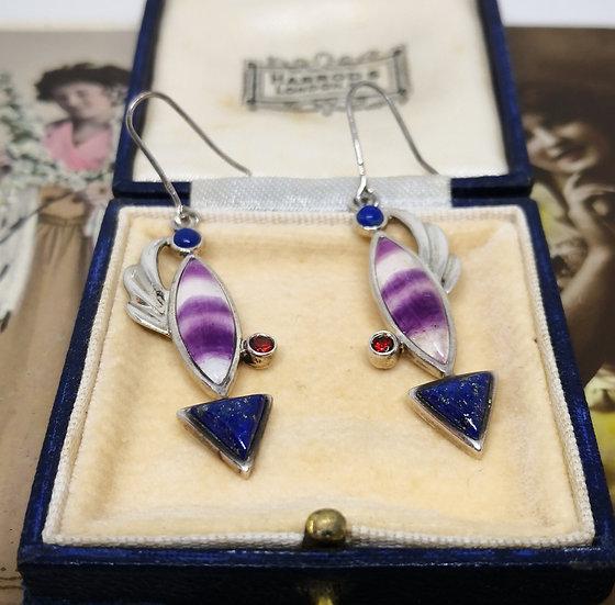 Stunning Silver Fluorite Lapis Lazuli and Garnet Earrings