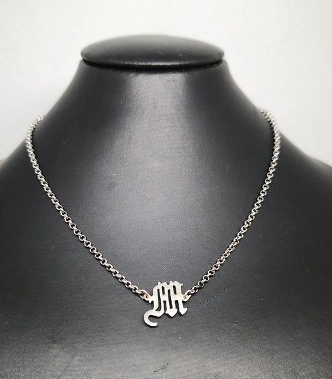 Sterling Silver Initial Choker / Childs Necklace