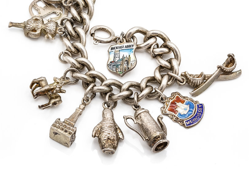 Vintage Sterling Silver Charm Bracelets with 17 Charms