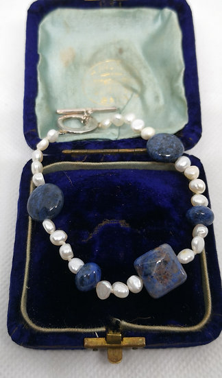 Silver Pearl and Sodalite Bracelet
