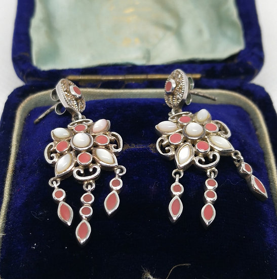 Gorgeous Silver and Mother of Pearl Chandelier Earrings