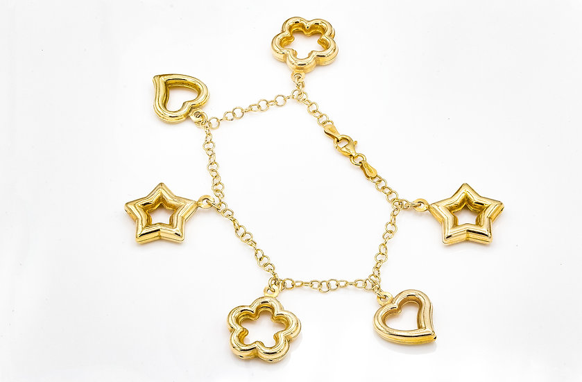 Gold Plated Silver Charm Bracelet with Hollow Charms