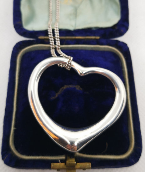 Sterling Silver Solid Heart Pendant with Chain