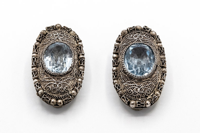 Art Deco Chinese Import Silver and Blue Topaz Dress Clips