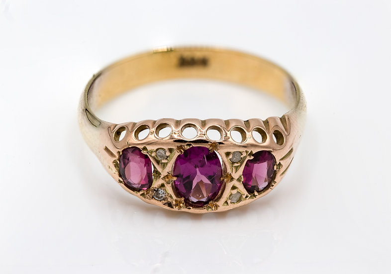 9ct Gold Victorian Ruby and Diamond Trilogy