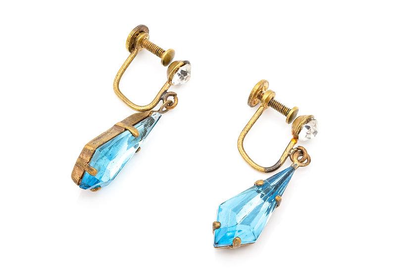 Vintage 1960'sBlue Crystal Drops