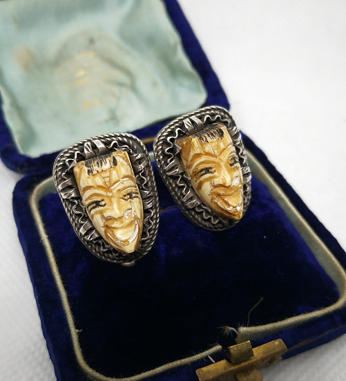 Quirky Vintage Bone Carved Face Earrings