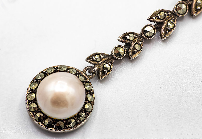 Edwardian Silver Marcasite and Pearl Drop Necklace