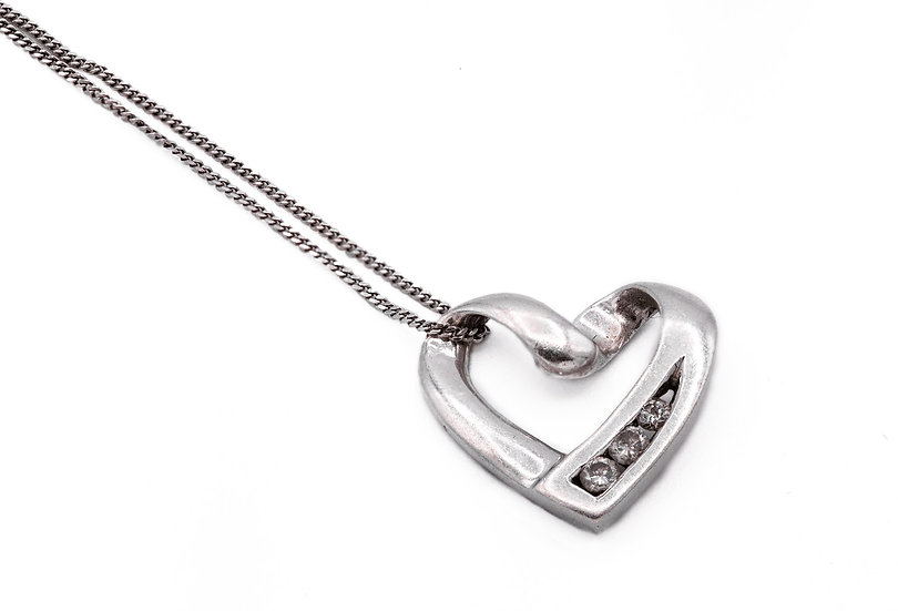 9ct White Gold and Diamond Heart Pendant with White Gold Chain