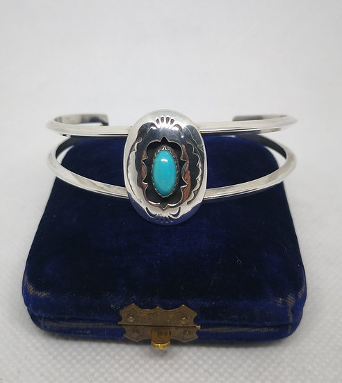 Sterling Silver and Turquoise Navajo Bangle