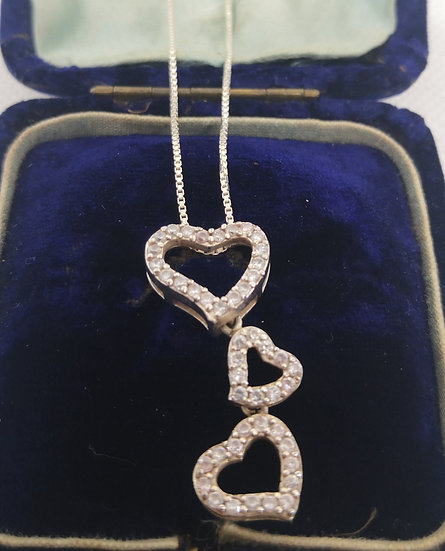 Sterling Silver and Cz Triple Heart Necklace
