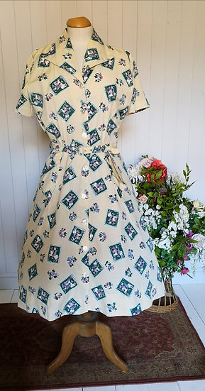 Original 1950s Percy Trilnick Novelty Print Dress