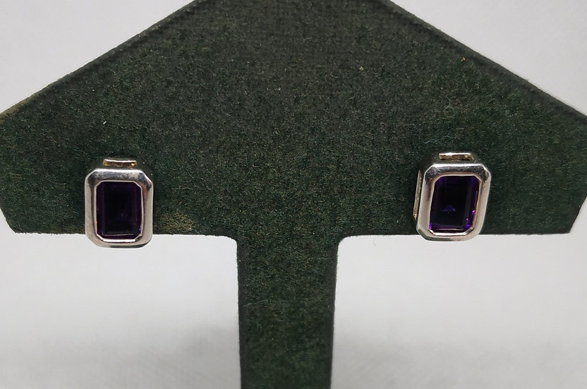 Sterling Silver and Amethyst Studs