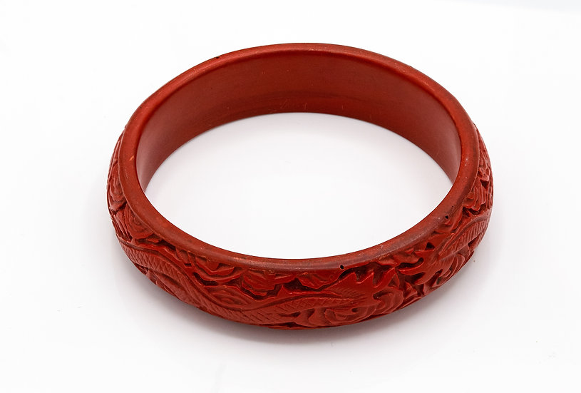 Beautiful Chinese Cinnabar Bangle