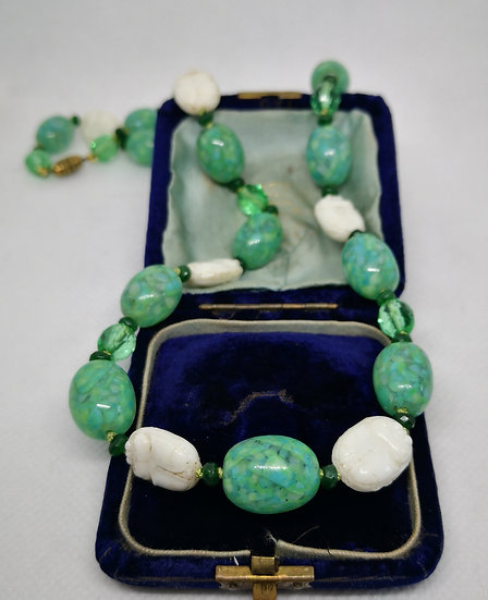 Art Deco Egyptian Revival Glass Scarab Necklace