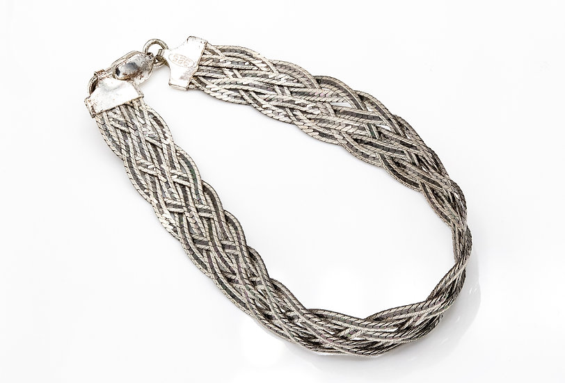 Sterling Silver Herringbone Plaited Bracelet