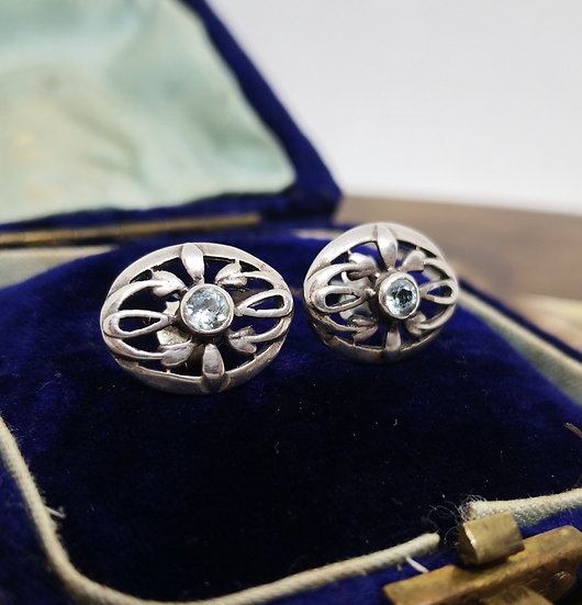 Sterling Silver Kit Heath Studs with Topaz