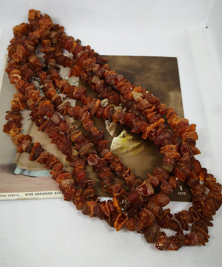Raw Amber Chip Very Long Necklace