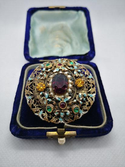 Art Deco Bohemian Czech Glass and Enamel Brooch