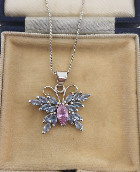 Silver and Cz Butterfly Necklace