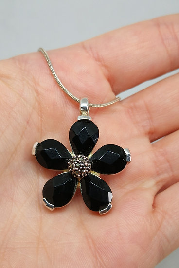 Thomas Sabo Flower Necklace with Onyx and Marcasite