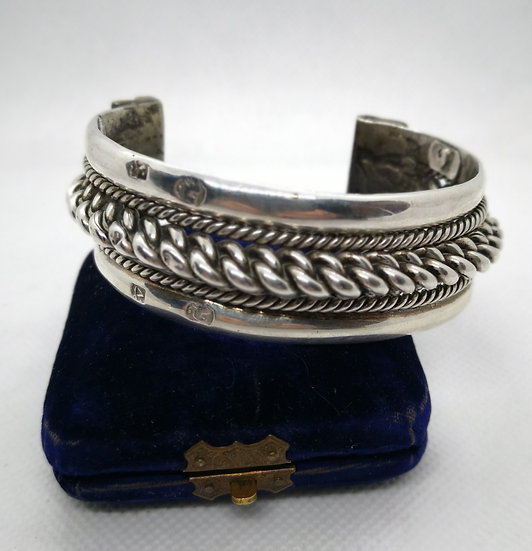 Very Large Solid Silver Cuff Bangle