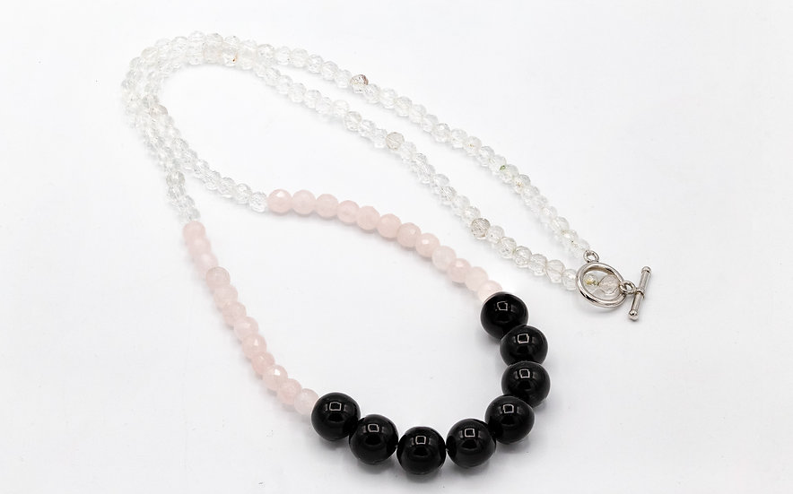 Rose Quartz, Onyx and Silver Long Necklace