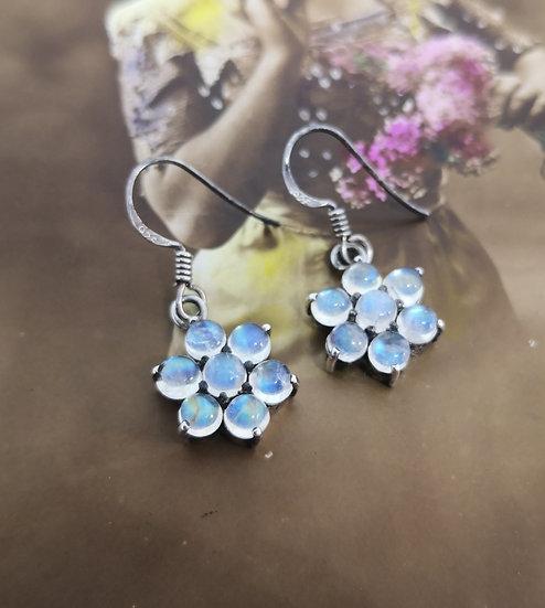 Beautiful Silver and Moonstone Flower Drop Earrings
