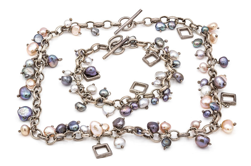 Silver and Pearl Necklace and Bracelet set