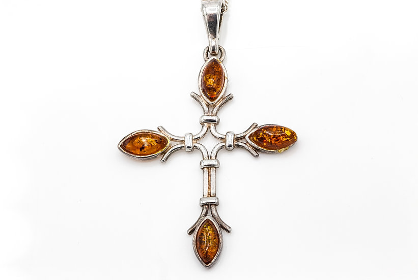 Beautiful Silver and Amber Necklace