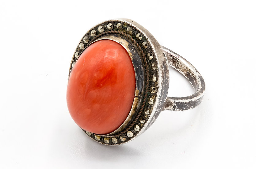 Victorian 800 Silver Coral and Marcasite ring