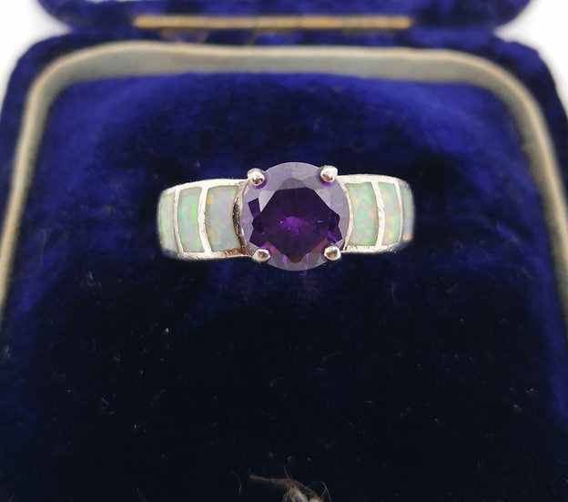 Beautiful Silver Amethyst and Opal Ring