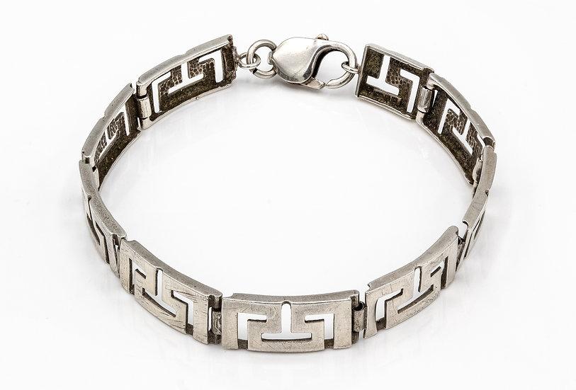 Greek Key Style  Silver  Bracelet