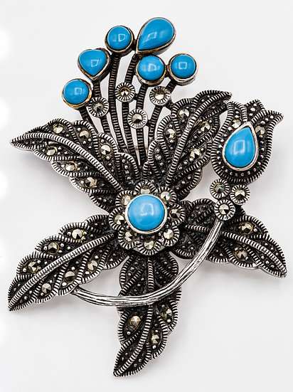 Stunning Sterling Silver Turqiose and Marcasite Flower Brooch