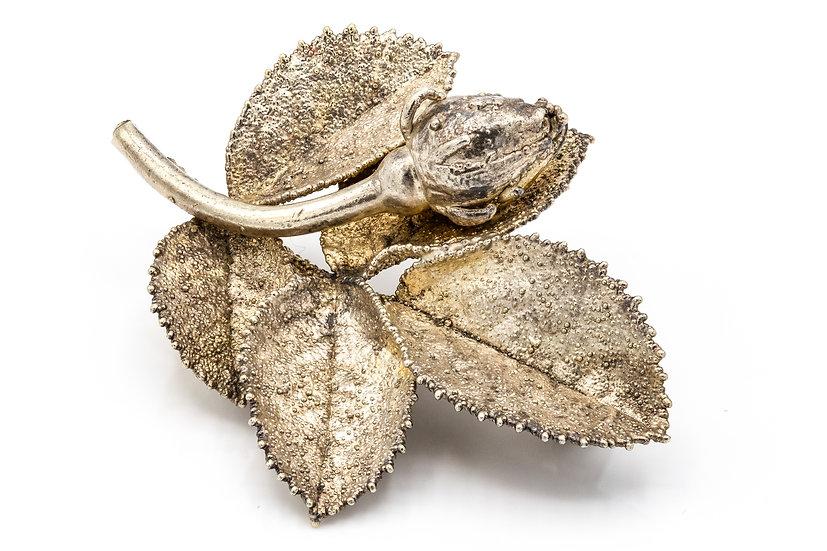 Mid Century Eggert Silver Rose Bud Brooch