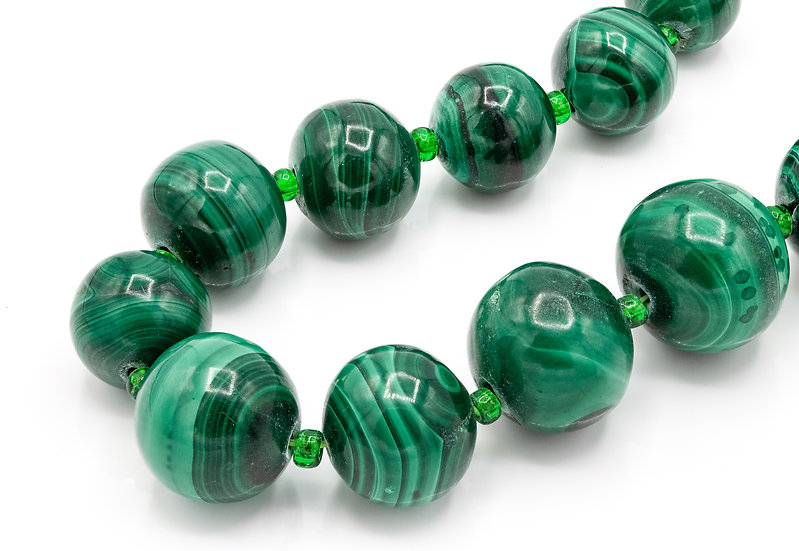 Vintage Long Malachite Bead Necklace