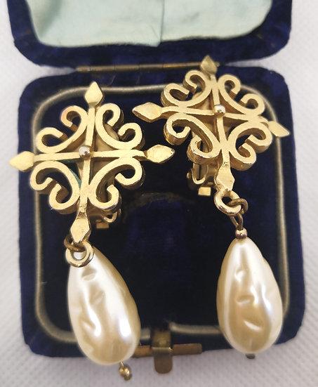 Fab 1980s Faux Pearl Huge Statement Earrings