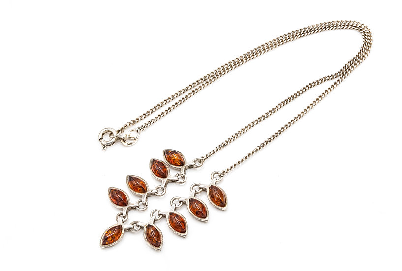 Sterling Silver and Amber Drop Necklace